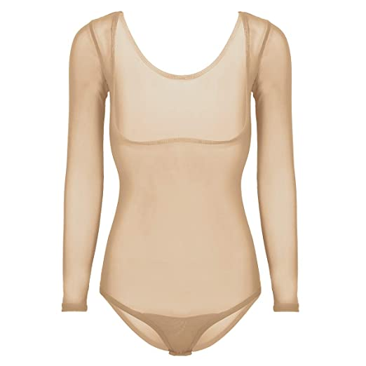YiZYiF Damen Ballettanzug Langarm Body Transparent Bodysuit Gymnastikanzug Ballett Trikot Einteiler Body Tanz-Body Brustfrei