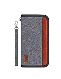 DEFWAY Passport Holder Travel Wallet - Family Passport Holder for Women Men, Holiday Travel Wallet Organiser, Waterproof Passport Wallet with Removable Wrist Strap for Vacation Gray