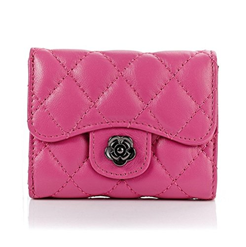 (Edmen Women's Small Wallet Sheepskin Genuine Leather Quilted Pattern Card Holder Flag Case Ladies Short Wallet Money Clip with ID Window Mini Purse (Rose))