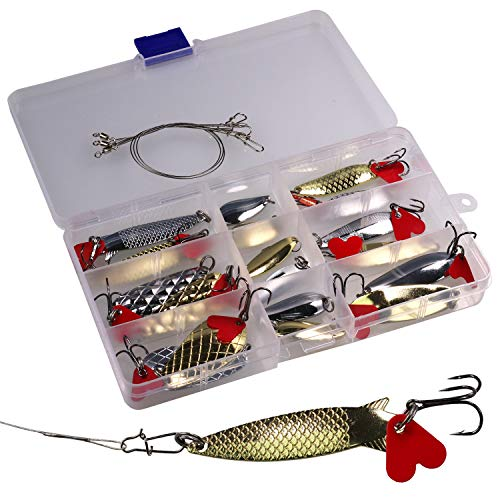 QualyQualy 0.2oz-0.33oz Fishing Spoons Lure Saltwater Freshwater Metal Hard Baits Wobbler Fishing Lures Spoons for Bass Salmon Trout Pike 21 Pieces/Set ()