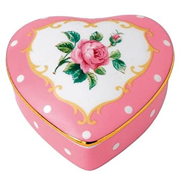 Royal Albert porcelana fina caja de forma de corazón rosa