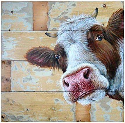 Fawankiss 5D Cow Diamond Painting Kits for Adults, DIY Full Drill Diamond Art Kits for Kids, Custom Cross Stitch Crystal Rhinestone Diamond Dotz for Home/Decor/Gift (12x12in)