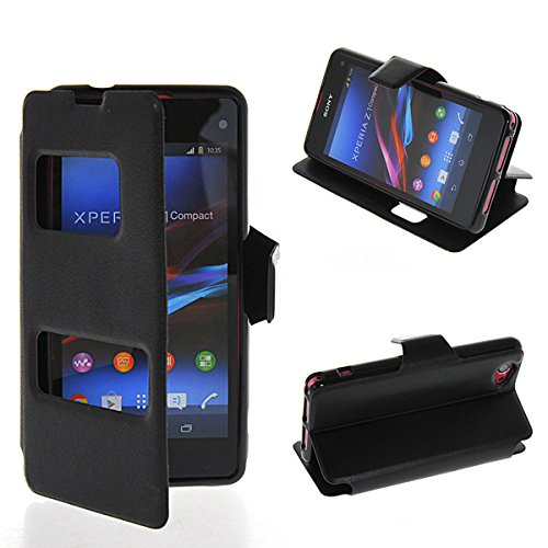 D5503 Case, GETLAST [Black] Beautiful 2 View Window Ultra Thin Flip Cover Folio Case For Sony Xperia Z1 Compact D5503