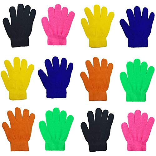 Childrens Magic Gloves (12 Pairs Kids Magic Gloves Teens Winter Stretchy Cashmere Knitted Gloves for Boys Girls (Mixed 6 Color))