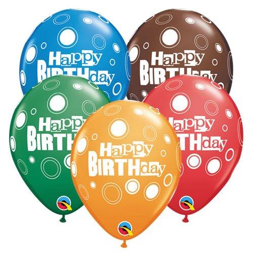 Qualatex Latex Balloons 43421-Q BIRTHDAY BOLD DOTS 11' Multicolored