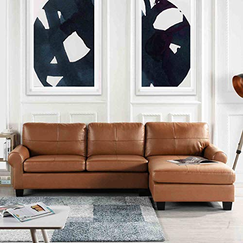 - Light Brown Leather Match Upholstered Sectional Sofa, L-Shape Modern Right Facing Chaise Sectional Furniture Couches, Lounger for Livingroom/Office