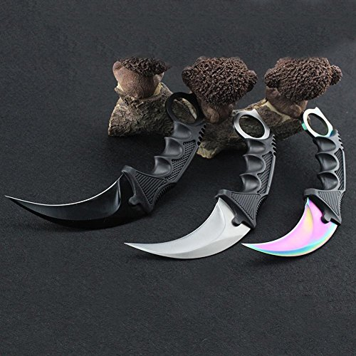 Stainless Steel Camping Hunting Knife Tactical Knife Karambit Fixed Blade With Rope