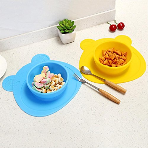 LtrottedJ Kids One Piece Silicone Placemat Plate Dish Food Tray Table Mat for Baby Toddler (Yellow) -