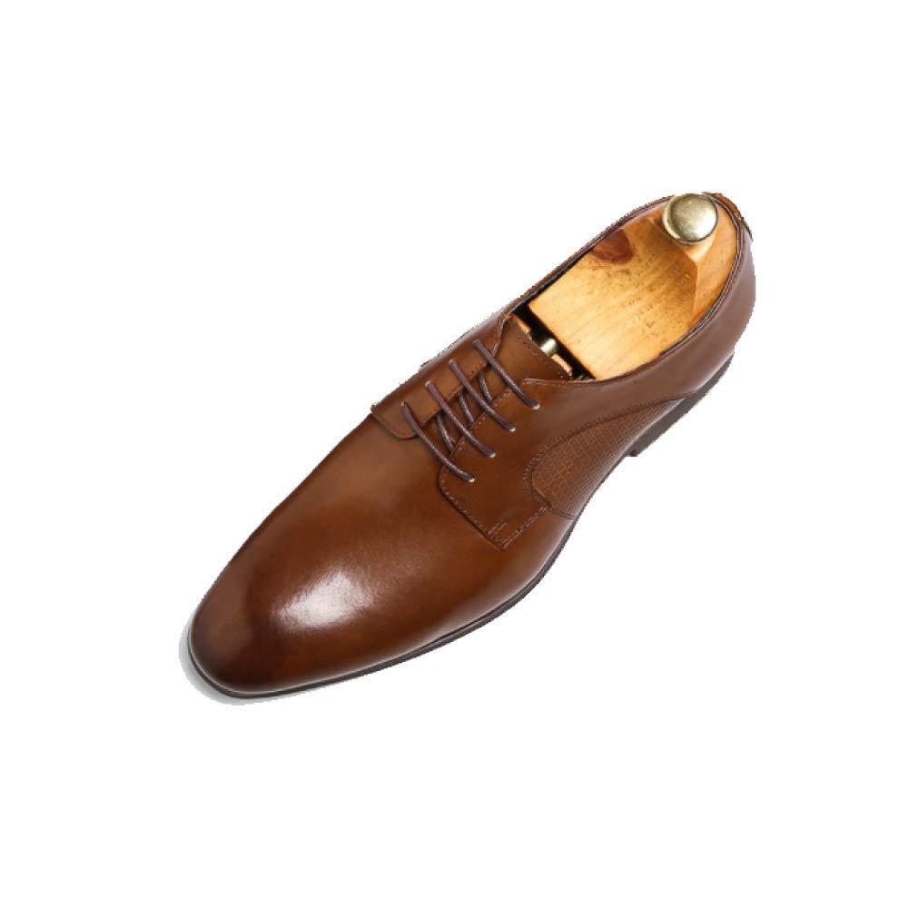 AEYMF zapatos Derby Viento Británico zapatos De Negocios Puntiagudos Otoño E Invierno marrón