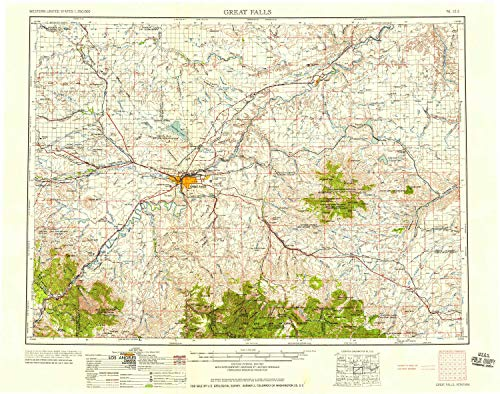 YellowMaps Great Falls MT topo map, 1:250000 Scale, 1 X 2 Degree, Historical, 1954, 22 x 27.9 in - - Outdoor Ridge Wall Castle