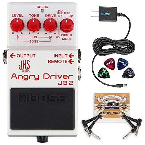 BOSS JB-2 Angry Driver Overdrive Pedal Bundle with Blucoil Slim 9V Power Supply AC Adapter, 4-Pack of Celluloid Guitar Picks, and 2-Pack of Pedal Patch - Fs Footswitch Boss 5l