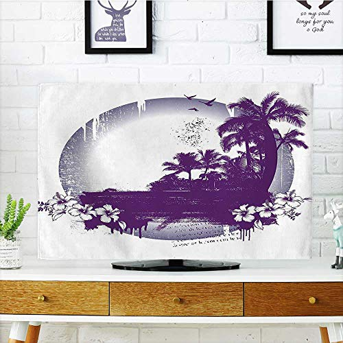 Auraisehome tv dust Cover Retro Style Hawaiian Beach Scene with Murky Effects Hibiscus Tropical Graphic Plum Grey Dust Resistant Television Protector W19 x H30 INCH/TV 32