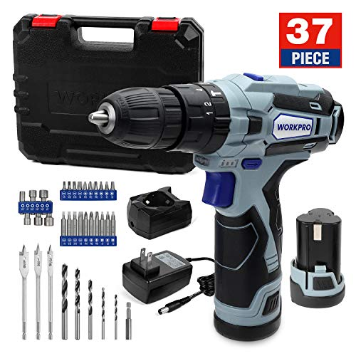 WORKPRO 12V Cordless Drill Driver Kit, 2x2000mAh Batteries, 2A Fast Charger, 18+3 Clutch, 220 In-lb Torque, 34pcs Drill Driver Bits Included