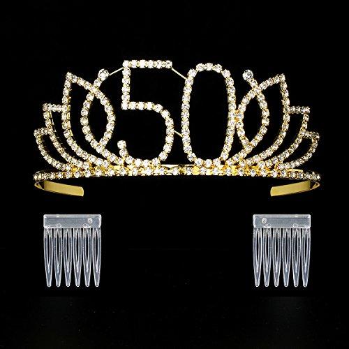 DcZeRong Queen 50 Birthday Tiara Women 50th Birthday Crown
