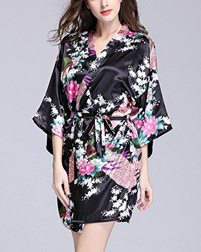Mujer Pijama Lencería Kimono Corto Satén Estampado Floral Encaje Gown Negro