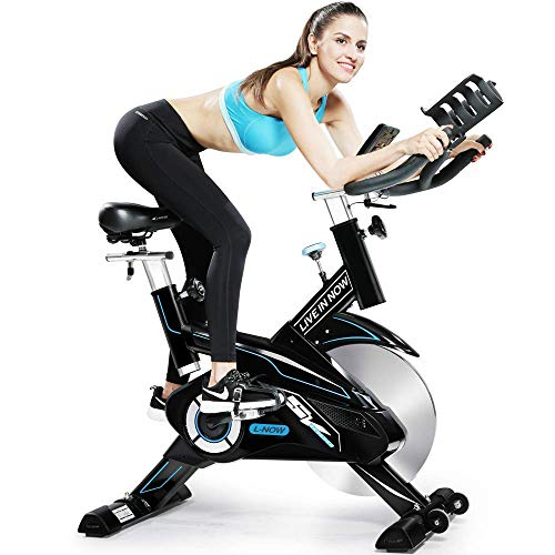 L NOW Indoor Cycling Bike Trainer Belt Drive and Sturdy (White)