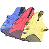 """OCSOSO Reflective strips Design Dog Raincoats Pet Clothes Puppy Cat Waterproof Hoodie (Yellow, 16"""")"""