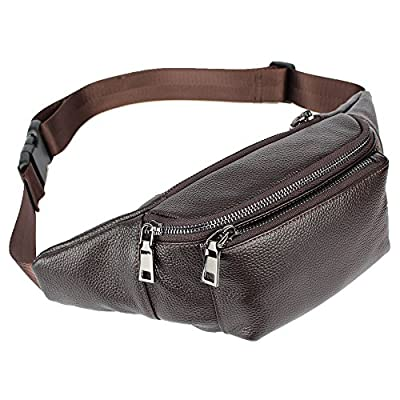5c40a9b82983 new LXFF Genuine Leather Fanny Pack Waist Bag Bumbag Belt Pouch ...