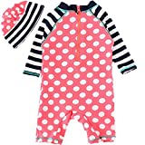 Baby Girls One Pieces Long Sleeve Sun Protection Polka Dot Zipper U V Rash Guard UPF 50+ UV Swimsuit