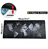 VIPAMZ Extended Xxxl Gaming Mouse Pad - 35.4''x15.7''x0.12'' Dimension - Portable with Extended XXL Size - Non-slip Rubber Base - Special Treated Textured Weave with Precision Control (worldmap)