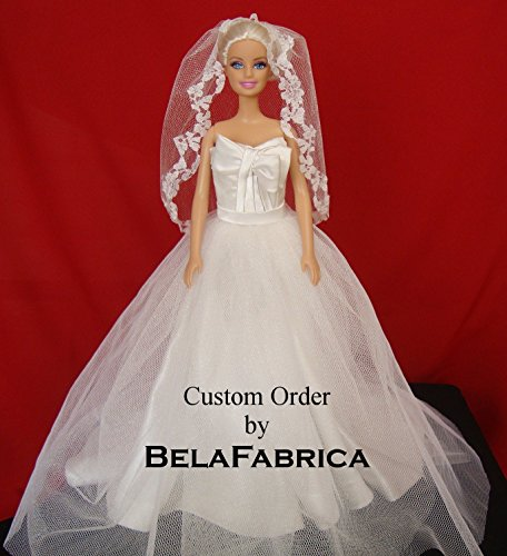 Wedding Centerpiece Bridal Shower Gift Table Reception Dress Replica in Miniature Barbie Engagement Collectible 1/12 Scale 1:6 Wire Frame Personalized Display Unique Gift For Happy Couple Bride Groom