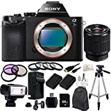 Sony Alpha a7S ILCE-7S/B ILCE-7S ILCE-7 Compact Full Frame Mirrorless Camera - Body Only + FE 28-70mm f/3.5-5.6 OSS Lens + 64GB Bundle 20PC Accessory Kit. Includes 3 Piece Filter Kit (UV-CPL-FLD) + 4 Piece Macro Filter Set (+1,+2,+4,+10) + 64GB Memory Card + 2 Extended Life Replacement Batteries (NP-FW50) + Bower SFD328 Flash + Micro HDMI Cable + Full Size Tripod + Backpack + More