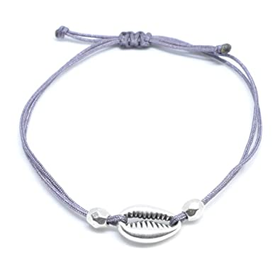 SelfmadeJewelry Muschel Armband Silber - Graus Textil Armband  größenverstellbar mit Silberner Muschel - Handmade  Amazon.de  Schmuck 68a57de7f5