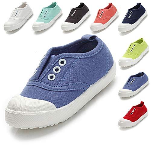 (Kikiz Candy Color Kids Little Canvas Sneaker Boys Girls Casual Shoes Azure 11 M US Little Kid)
