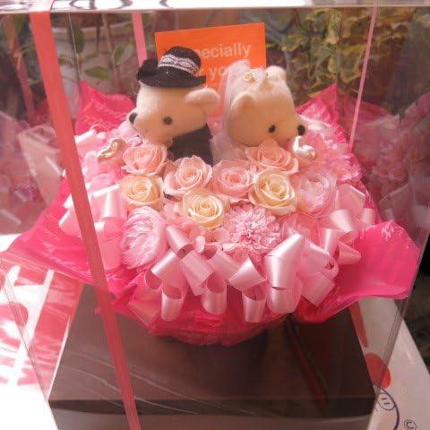 結婚祝い プレゼント  花 プリザーブドフラワー ケース付き 大っき~い メガサイズ プリザーブドフラワー ウェディングベアー Lサイズ ケース付