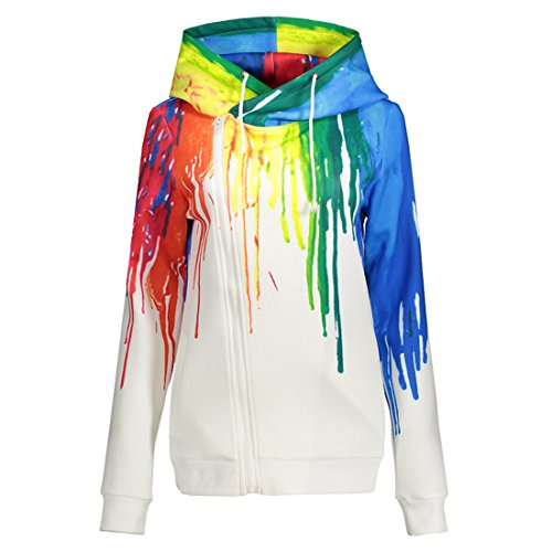 Comeon Tie Dye Zip Up Hoodie Unisex Zipper Long Sleeve Oversized Youth Rainbow 3D Lightweight Hoodie For Boys For Teen Girls (US XS (Tag S))