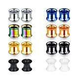 Fectas Gauges Tunnels Plugs for ear-Body-Piercing-Tunnels Stretching Screw Set Stainless Steel 8 Pairs 00G