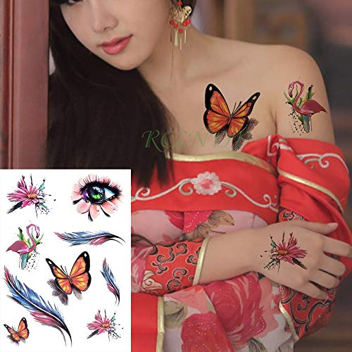 Waterproof Temporary Tattoo Sticker Rainbow Color Ribbon Stripe Large Size Tatto Flash Tatoo Fake Tattoos for Women Man Kids -
