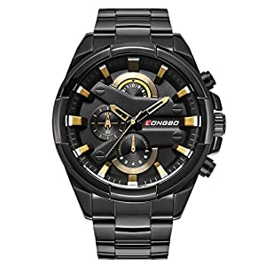 LONGBO Men's Unique Big Face Analog Quartz Swiss Watch Black Stainless Steel Band Business Wrist Watches Sportive Luminous Waterproof Decorative Chrono Eyes Black Dial Army Military Watch for Man