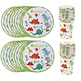 Cha Long 40Pcs Dinosaur Party Tableware Set-20Pcs Dinosaur Paper Plates,20Pcs Dinosaur Paper Cups Paper Plate Dishes Kids Birthday Wedding Party Tableware Dinosaur Party Favors