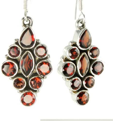 24ct Sterling Silver Natural Garnet Dangle Earrings