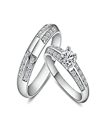 Aokarry Women Men Engagement Rings Princess Rings Drill Cubic Zirconia Silver (Price Unit: 1 PC)