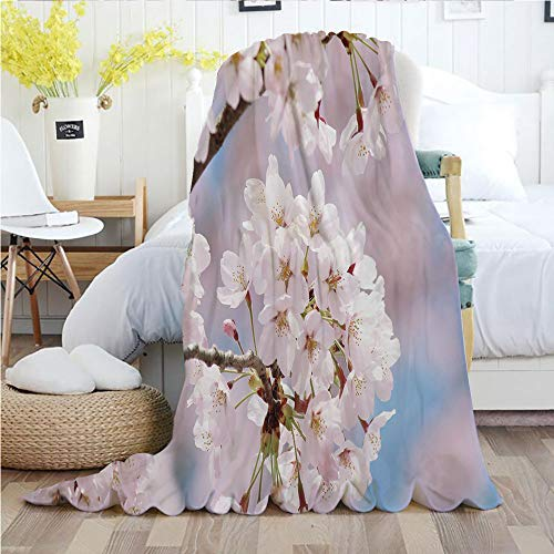 Ylljy00 Spring Decor,Throw Blankets,Flannel Plush Velvety Super Soft Cozy Warm with/Floral Tree Branches Cherry Blossom Petals Buds Flourishing Nature Landscape/Printed Pattern(70