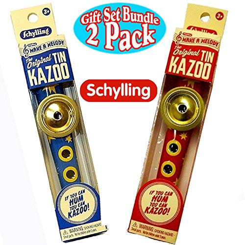 Schylling Musical Instruments Original Classic Tin Kazoo Blue/Yellow & Red/Yellow Gift Set Bundle - 2 Pack