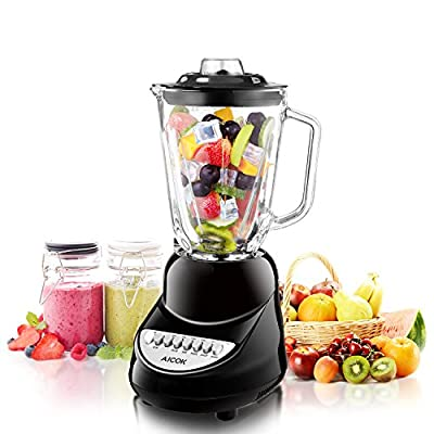 Aicok Smoothie Blender, Ice Crush Blender, 6-Cup Chopper, 10-Speed Glass Jar Blender, Mixing for Ice Crush, Smoothie and Dessert, 50oz, FDA Certified Juice Blender