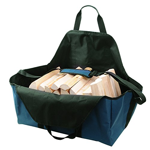 Realsun Supersized Firewood Log Holder Tote Fireplace Accessories Log Carriers with Adjustable Shoulder Strap Foldable