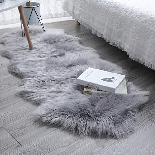 HLZHOU Faux Fur Soft Fluffy Single Sheepskin Style Rug Chair Cover Seat Pad Shaggy Area Rugs for Bedroom Sofa Floor 2×5.3 Feet 60X160cm , Double Shape Gray