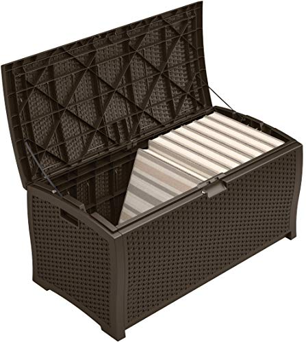 Large Product Image of Suncast DBW9200 Mocha Resin Wicker Deck Box, 99-Gallon