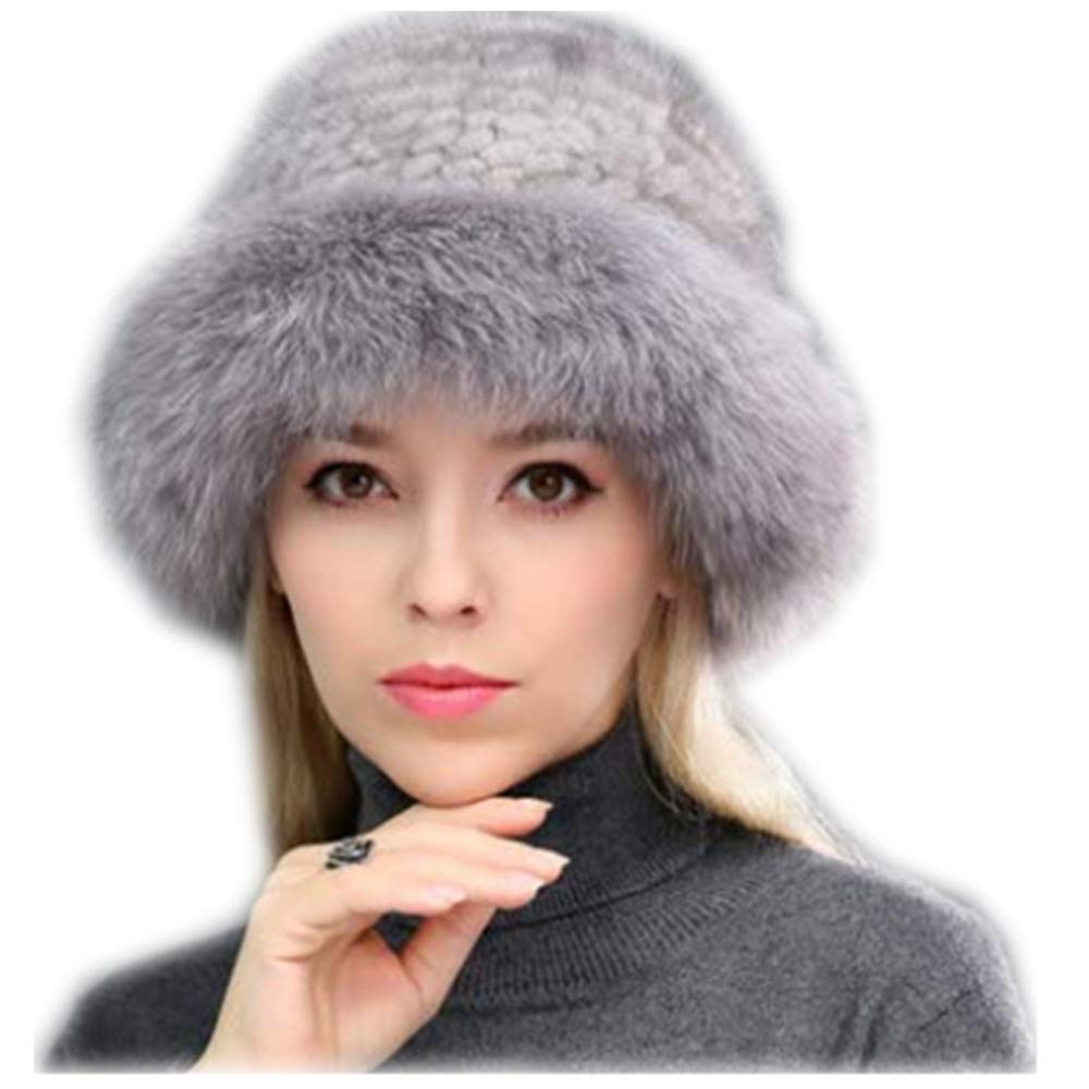 MH Bailment Womens Winter Hat Knitted Mink Real Fur Hats Fox Brim (One Size, Purple Gray)