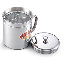 El almacenamiento de aceite de acero inoxidable de 1.5 cuartos de galón de Cook N Home puede colador, 6 tazas