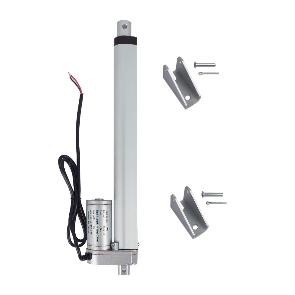 ECO-WORTHY 4 Inch Stroke Linear Actuator with Rubber Protection Case 330lbs Maximum Lift with Mounting Brackets 12VDC 4, Black Case