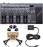 BOSS ME-80 Multi-Effects Processor with Expression Pedal and 8 Footswitches Bundle with Blucoil Slim 9V Power Supply AC Adapter, 2-Pack of Pedal Patch Cables and 4-Pack of Guitar Picks