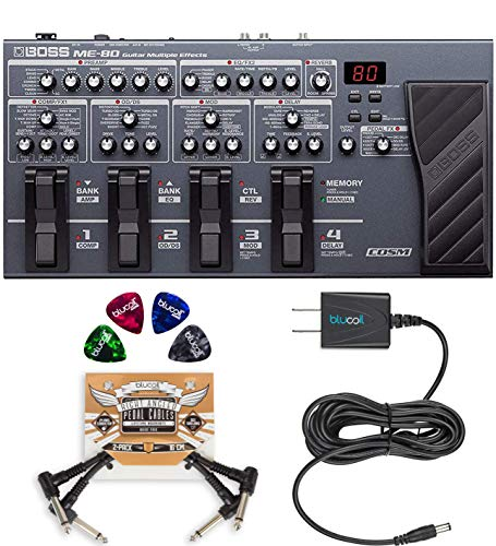 - BOSS ME-80 Multi-Effects Processor with Expression Pedal and 8 Footswitches Bundle with Blucoil Slim 9V Power Supply AC Adapter, 2-Pack of Pedal Patch Cables and 4-Pack of Guitar Picks