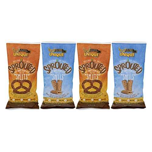 - Unique Pretzels Variety 4-Pack: Whole Grain Sprouted Splits and Sprouted Shells, 8 Oz. Bags (2 Bags of Each Variety)