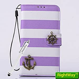 Rightway Samsung Galaxy S5 I9600 Case Folio Stand Case Sling Metal Anchor And Rudder Stripes +1 Screen Protector And 1 Stylus Purple And White