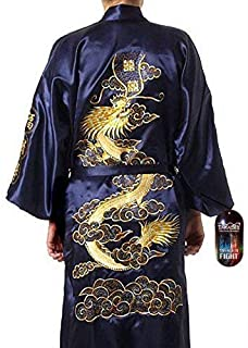 MENS Night Wear Japanese Dragon Men's Embroidered Night Gown Traditional Male Sleepwear Nightwear Kimono 1 Size Senior Dark Blue with Golden Dragon Embroidery Takashi Japan Ideal Gift for all Occasions